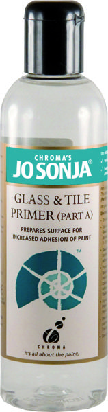 Chroma's Jo Sonja Glass & Tile Primer (Part A): A two-part system for painting on glass and glazed ceramics. The Primer (Part A) is used to prepare the surface and the Medium (Part B) is mixed with the paint for painting the design and for sealing the finished design.