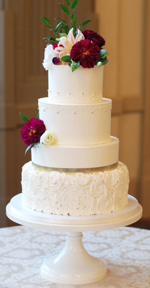 Romantic red flower topped white wedding cake; Featured Cake: Sweet Fix RVA