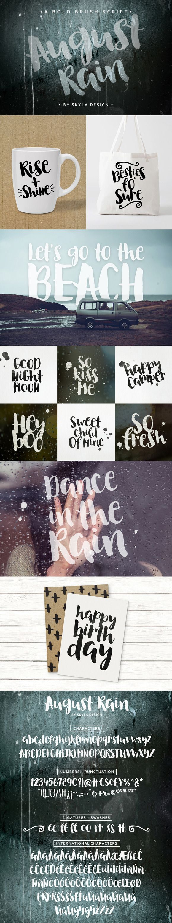 Bold Brush font - August Rain by skyladesign on @creativemarket #bold #kids…