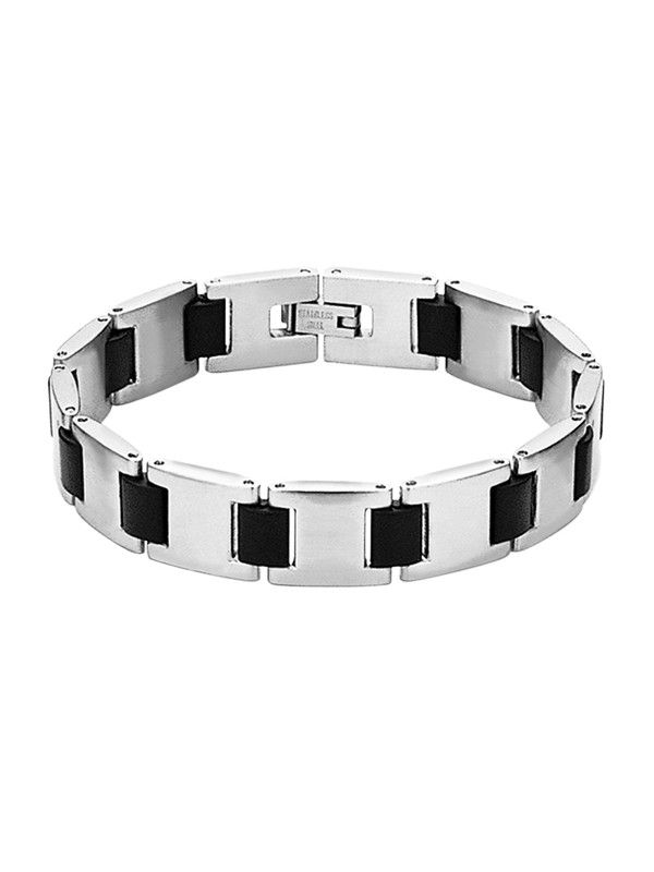 Stainless steel bracelet with rubber. All stainless steel, costume, wolfram/tungsten and leather jewelry is delivered in free, shock-proof envelopes offered by BeSpecial.ro - online jewelry store.