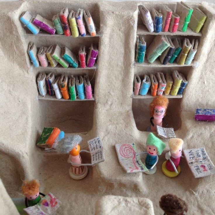 Vamos brincar às bibliotecas? http://www.kireei.com/mini-biblioteca-reciclada/