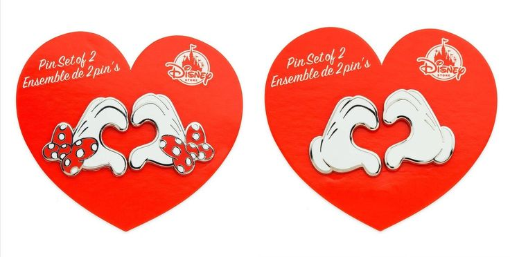 Disney Store 2018 Mickey& Minnie Mouse Heart Gloves Valentine's Day Pin Set of 4 | eBay