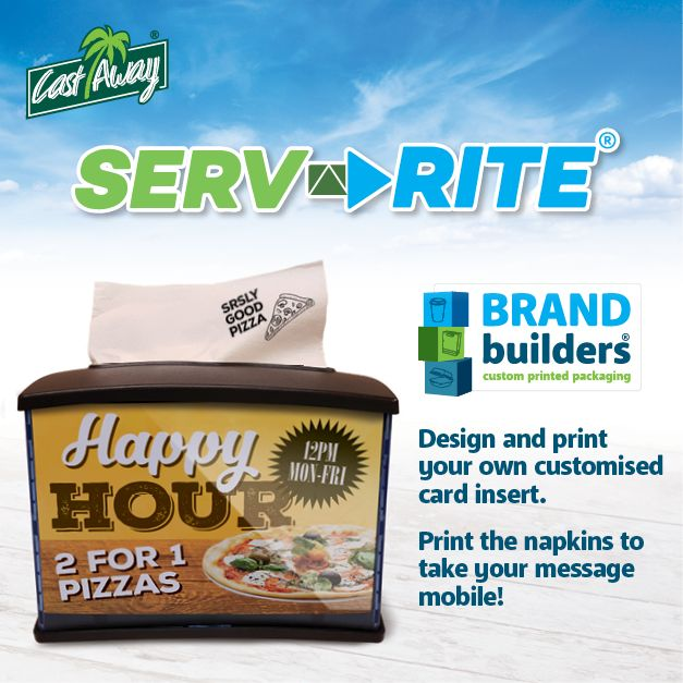 Make every dining experience count! Convey your brand message or advertise your latest promotion using custom-printed napkins and dispensers. See bit.ly/serv-rite #napkins #dispensernapkins #napkindispenser