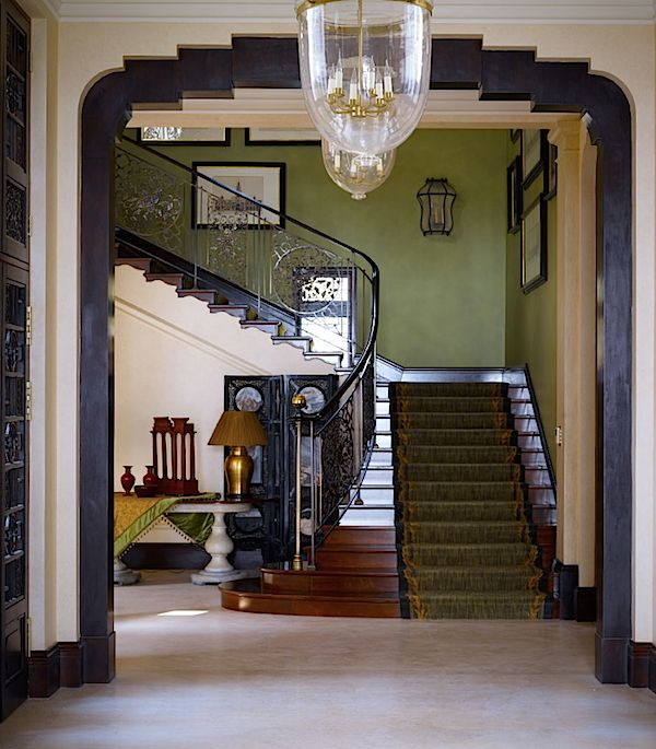 "Now THAT'S an entry way. I typically don't pin interiors from such ""fine"" & grand homes. But this one by Nina Campbell Interiors has a lot of inspirational ideas. For example: Love the wall color."