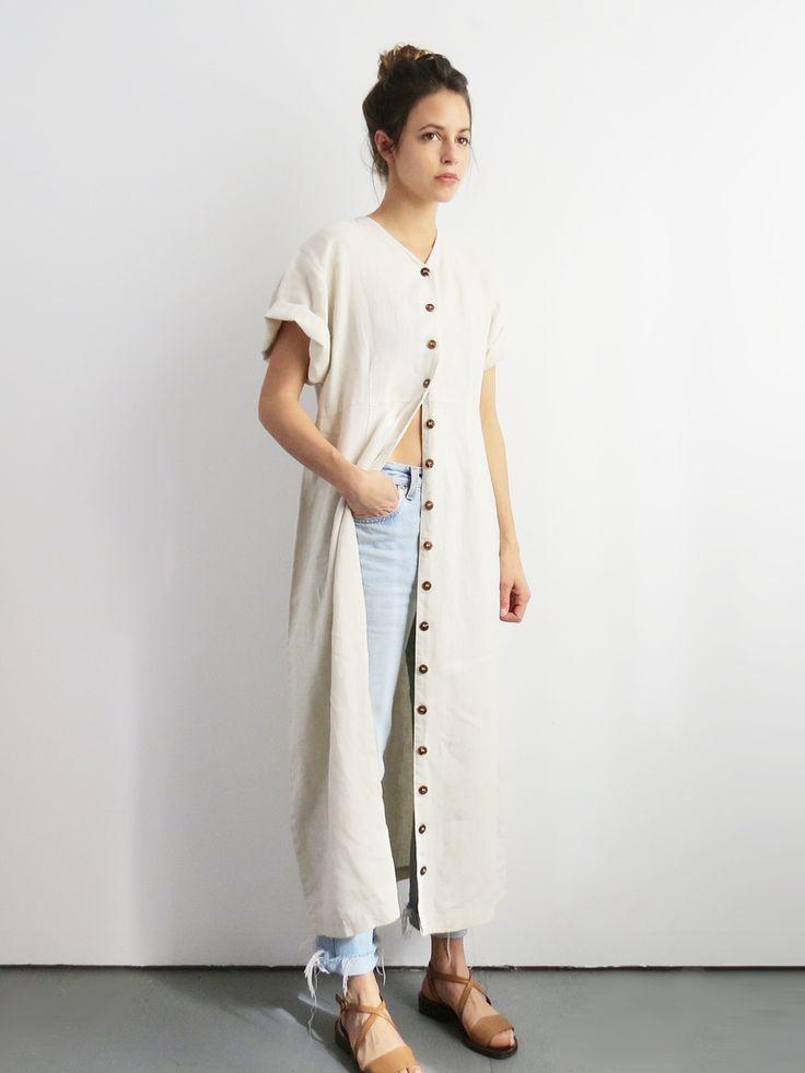 Button Up Linen Dress // Vintage 1990's White Linen Minimalist Dress SOLD