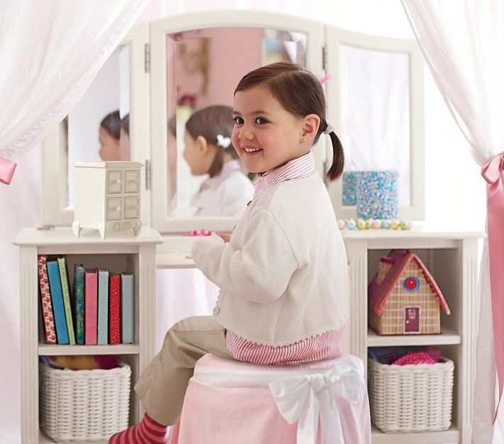 B's Madeline Play Vanity PBK; currently nothing in shelves or on top the vanity; she does have the stool but with covering is light pink with ruffles...obviously will need to change or just take off the the covering