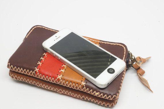 double pocket zipper pouch, Double zipper wallet, leather wallet, leather phone case, leather coin pouch, coin purse, pen case, pencil case