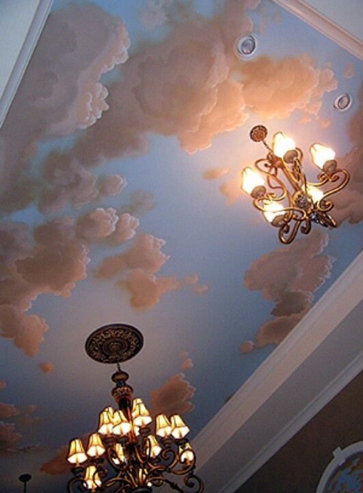 the sunset sky looks like Renaissance fine art. the chandeliers would  create work but the ceiling would be low maintenance.