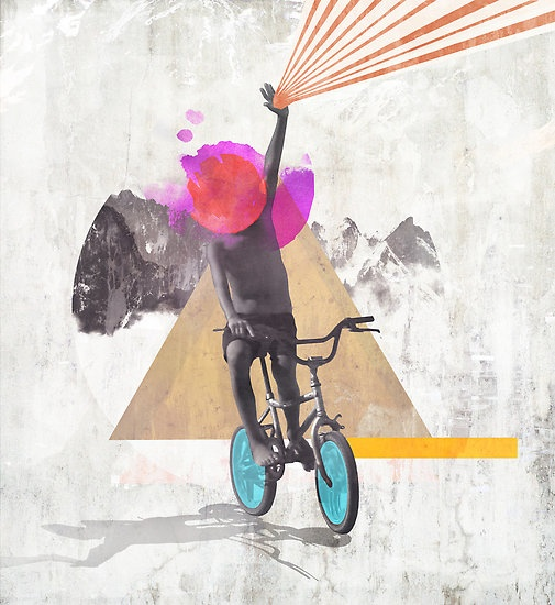 Rainbow Child riding a bike - by Mikath