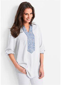Длинная блузка со вставкой спереди, bpc bonprix collection, кремовый