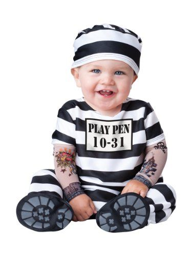Newborn Halloween costumes of 2017 are so charming, cute and adorable. In fact these infant Halloween costumes are great as they get baby involved with family Halloween traditions. These baby Halloween costumes will cause you baby to be the center of attention on #Halloween 2017.   InCharacter Costumes Baby's Time Out Convict Costume, Black/White, Medium(12 -18 Mos)