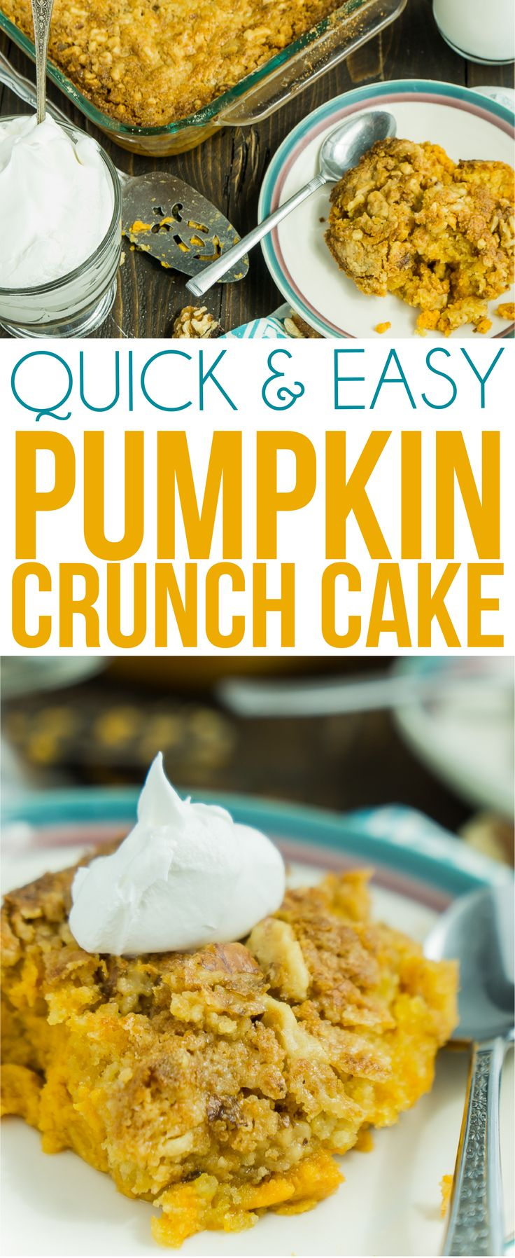 This Pumpkin crunch cake recipe is one of the best pumpkin recipes out there! It's easy to make, quick to mix up, and one of our favorite pumpkin desserts ever. Simply mixed canned pumpkin with cake mix and a few other ingredients for one great fall dessert!