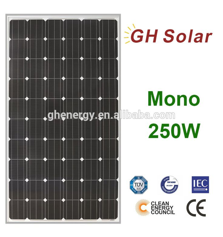 GH SOLAR-high efficient gy solar panel black 250w for air conditioner cheap pv solar panel 250w