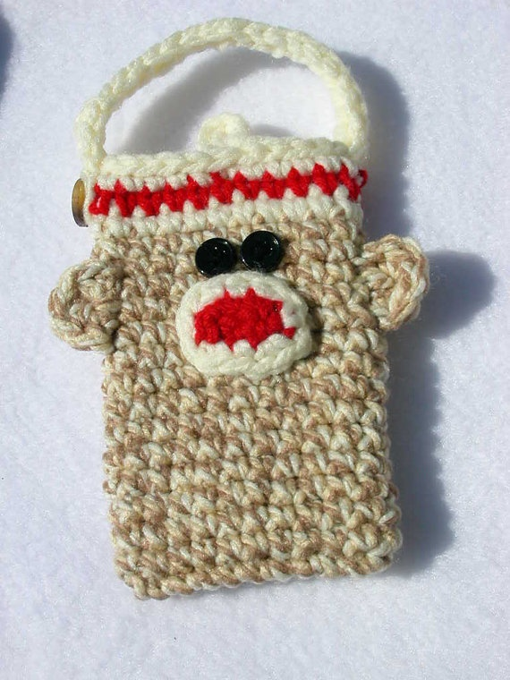 Classic Crochet Sock Monkey Pouch for Cell Phone by SandysSundries, $10.00