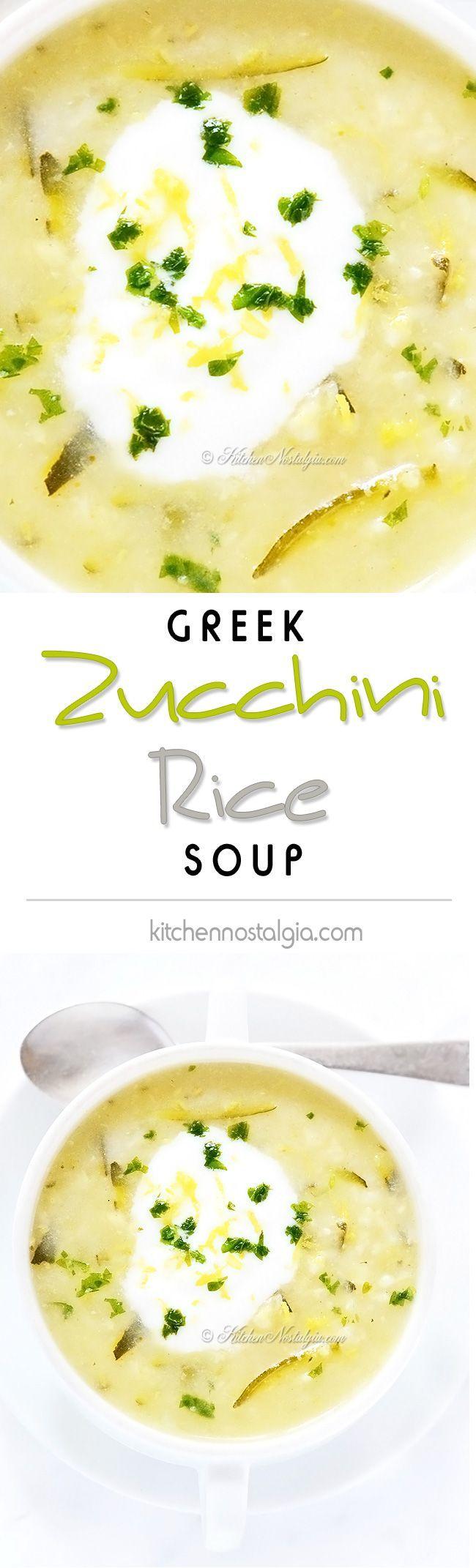 Zucchini Rice Soup - Greek summer soup, seasoned with lemon zest, lemon juice and rosemary; can be vegetarian / vegan - kitchennostalgia.com