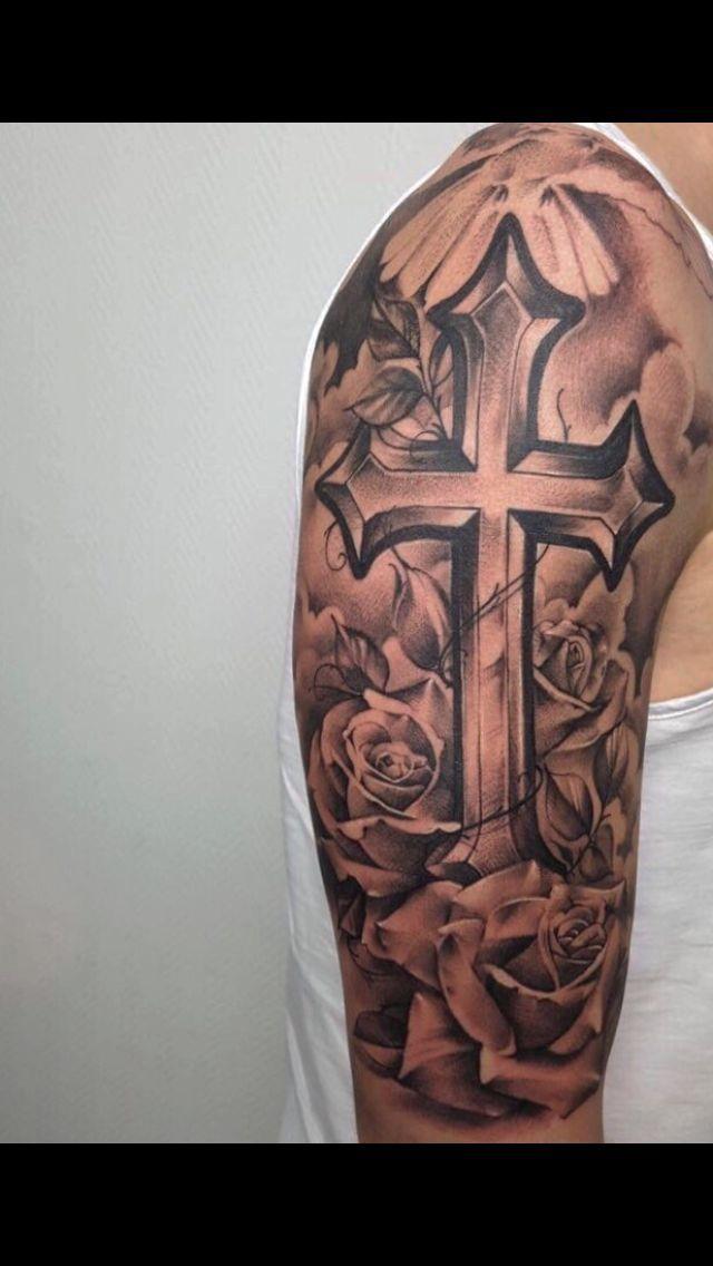 #tattoo #cross #clouds #bird #rose #rosetattoo #realistic ...