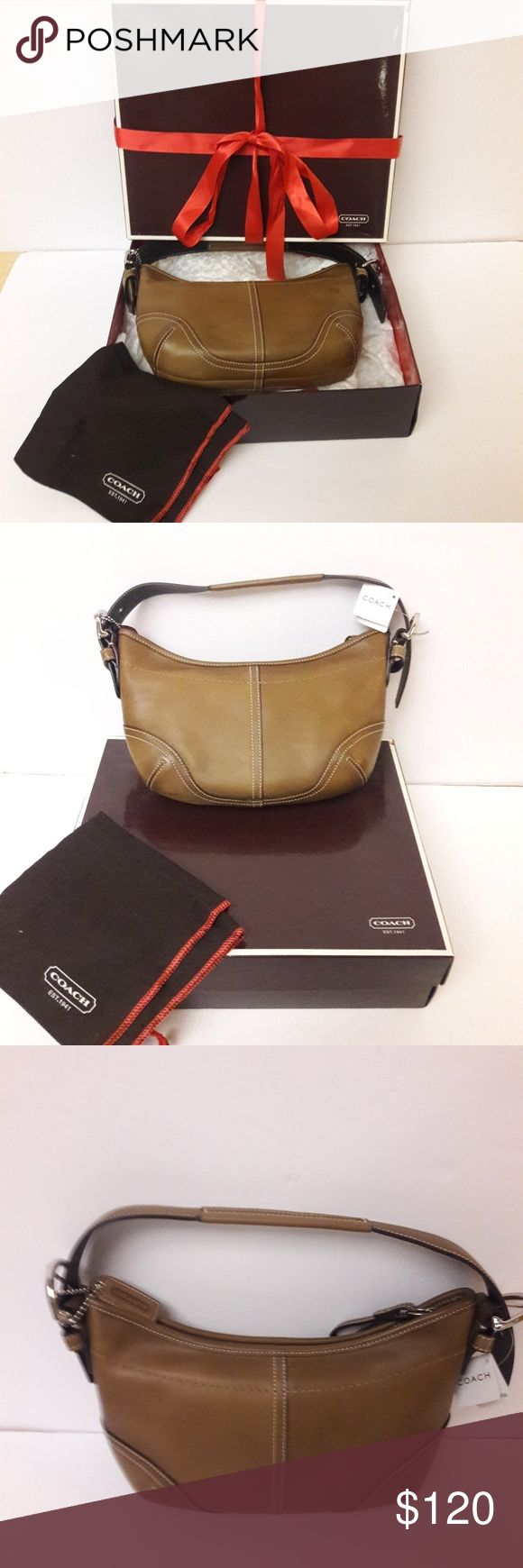 NWT Tan leather Coach hobo purse New with tags, gorgeous tan leather Coach hobo bag. Mint condition. Comes with original box and dustbag. Coach Bags Hobos
