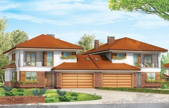 Projekt Kasjopea 2 został zaprojektowany jako budynek bliźniaczy. Dwie piętrowe połówki bliźniaka zostały połączone dwustanowiskowymi garażami przekrytymi dwuspadowym dachem. Dzięki temu obie części budynku są od siebie wizualnie oddzielone - nie stanowią jednej, zlewającej się bryły. Prosta forma prostopadłościanu została urozmaicona wystającymi wykuszami i daszkami, a także podcieniami, balkonami i loggią.