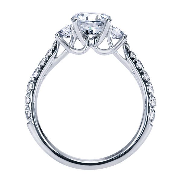14k White Gold Diamond 3 Stones Engagement Ring | Gabriel & Co NY | ER7461W44JJ