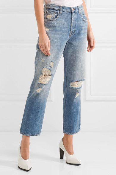 J Brand - Ivy Cropped Distressed High-rise Straight-leg Jeans - Mid denim - 26