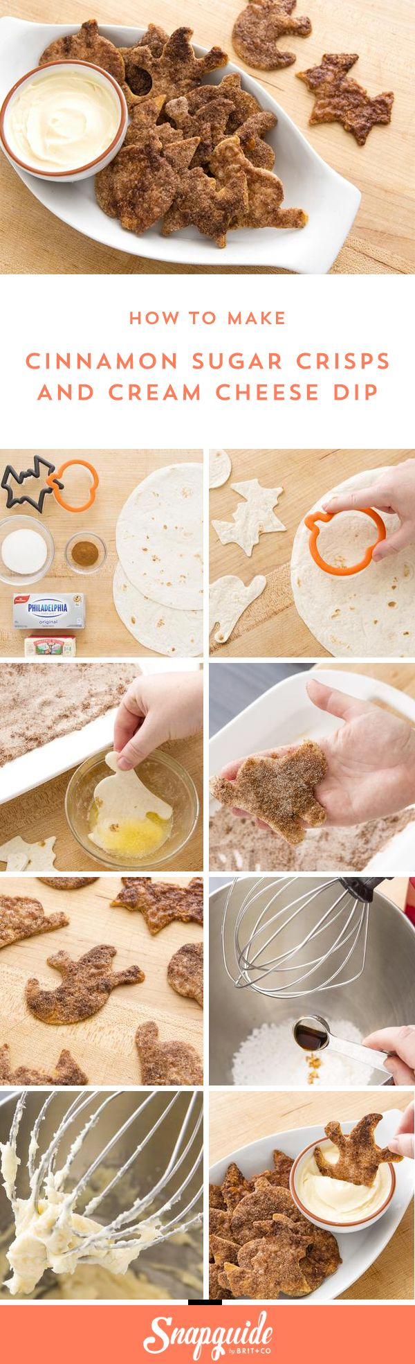 You can make ghost + bat-shaped Cinnamon Sugar Crisps with Cream Cheese Dip using this easy Halloween recipe.