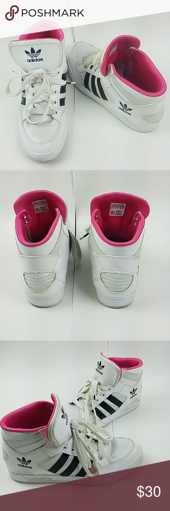 4e06a76cec7f ADIDAS White + Black + Hot Pink Sneakers US SIZE 5 ADIDAS White patent  leather Hightop