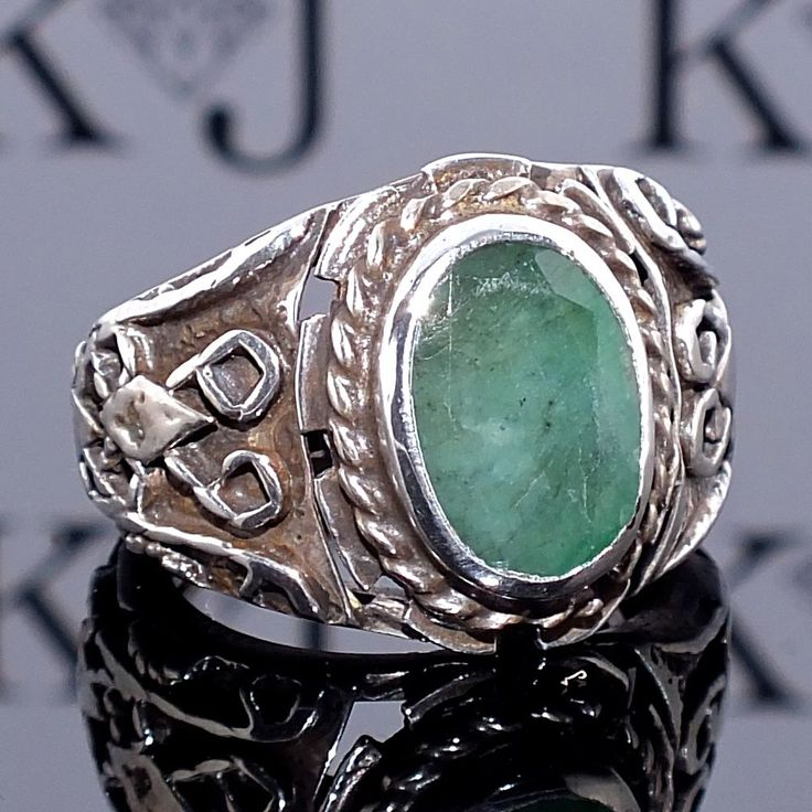 Silver Ring Emerald Men Sterling 925 Mens Jewelry unique handcrafted #KaraJewels #Handmade
