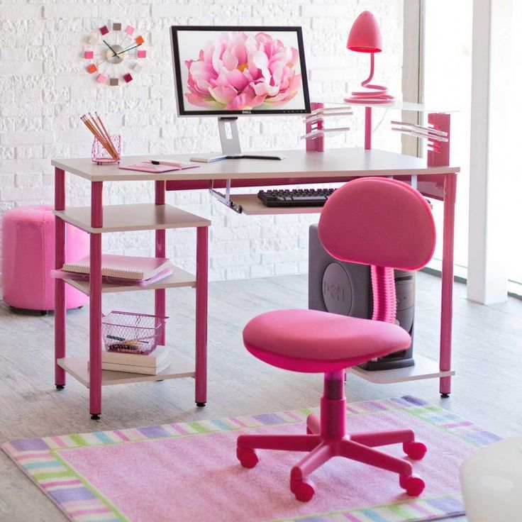 Furniture, Cute Computer Desk Design With Marvelous White Pink Rectangular  Office Desk Plus Pink Desk Lamp And Comfortable Pink Wheels Office Chair  Also ...