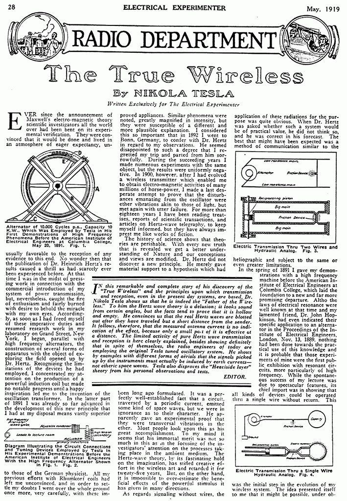 best nikola tesla images sacred geometry  the true wireless the electrical experimenter o 1919 la revista dirigida por su amigo hugo gernsback