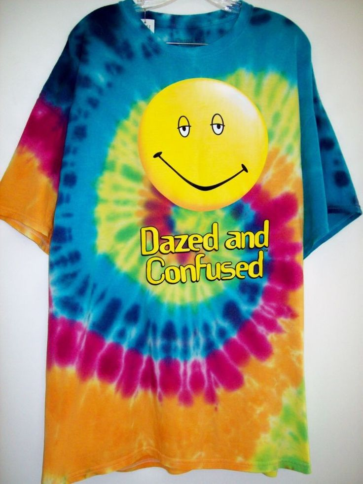 Dazed And Confused Tie Dyed T-Shirt XXL Smiley Face Movie Officially LicensedNWT #DazedAndConfused #GraphicTee