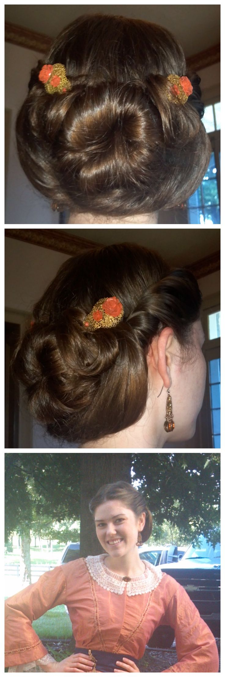 "Sock bun- 1860's style!! Leave some hair out of the bun underneath to ""swoop"" up to either side of the bun..."