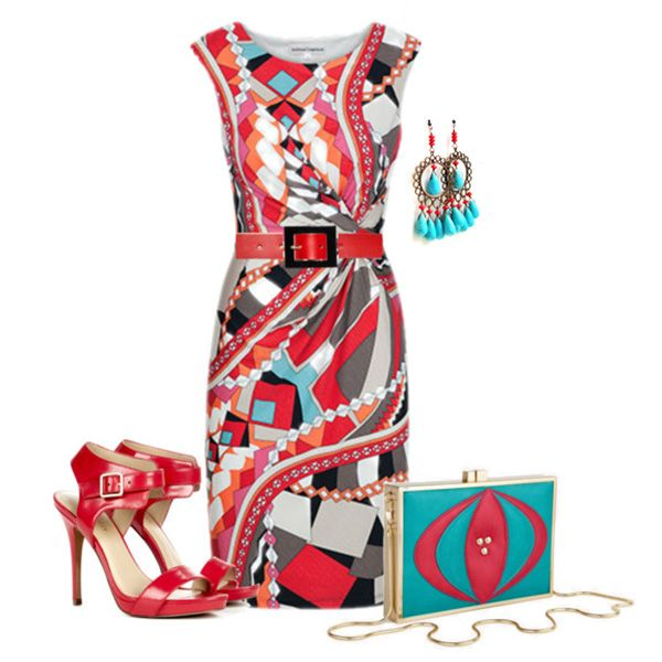 С чем носить красные босоножки: платье-карандаш с абстрактным принтом, бирюзовые аксессуары