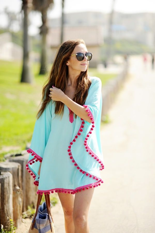 DIY Easy Pom Pom Trim Beach Coverup tutorial #diy, #fashion