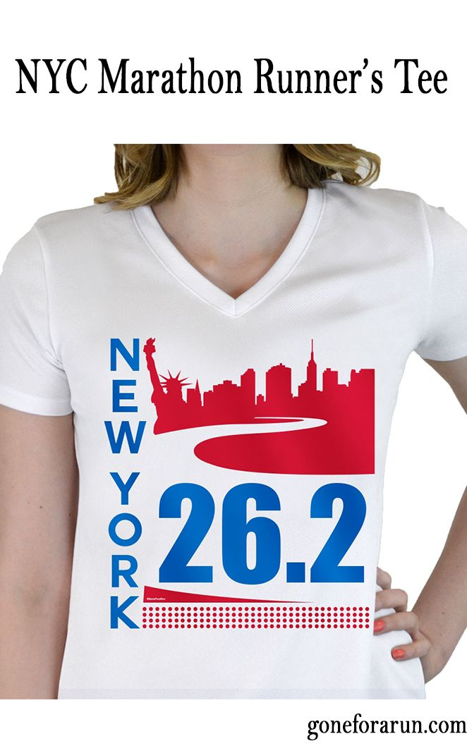 New York City 26.2 runner's performace tee. Exclusively from goneforarun.com