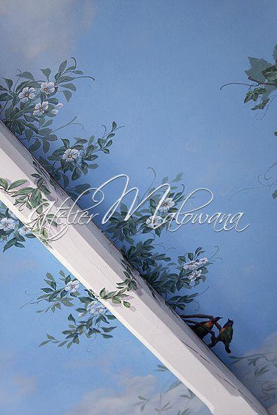 Malarstwo ścienne, iluzjonistyczne - fragment dekoracji sufitu w Atelier Malowana. © 2014 Atelier Malowana. All rights reserved. http://ateliermalowana.pl/