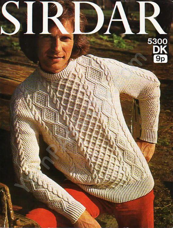 DK Knitting Sirdar 5300 Aran jumper Knitting pattern, on Etsy (click image) and at www.yarnpassion.com