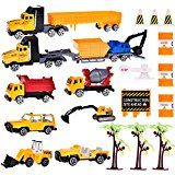 Building Cars Play Set Vehicles Vehicles Playsets for Boys Tough Building Toy Set for Kids with Diggers Mixing Truck Construction Truck Heli-copter Tow Truck Semi Truck plus Accessories 21pcs