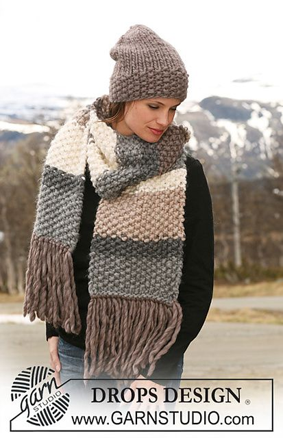 Ravelry: 116-23 b - Scarf in moss st with stripes pattern by DROPS design