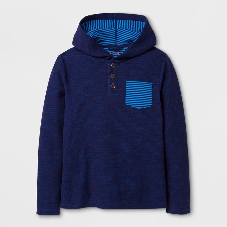Boys' Long Sleeve Henley Shirt - Cat & Jack Navy Xxl, Blue