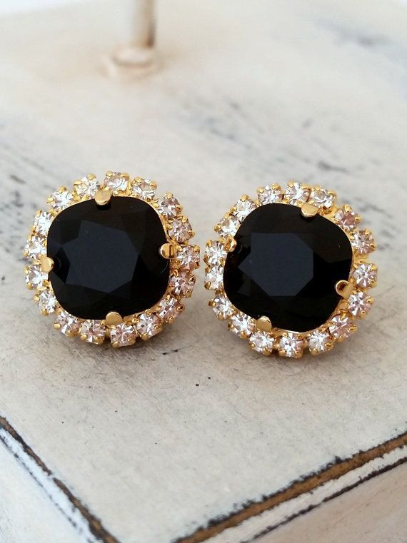 Black Swarovski Stud Earrings Bridal By Eldortinajewelry