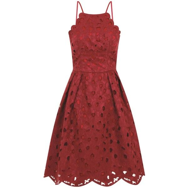 Chi Chi London Laser cut prom dress (£65) ❤ liked on Polyvore featuring dresses, burgundy, women, lace camisole, burgundy lace dress, lace cami, lace cocktail dress and red lace camisole