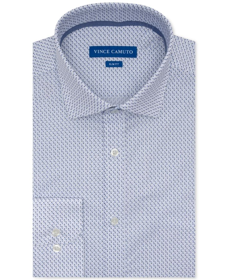 Vince Camuto Men's Slim-Fit Performance Stretch Geo-Print Dress Shirt – White W/ Blue Check