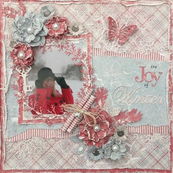 The Joy of Winter 8x8 Layout by Amy Voorthuis