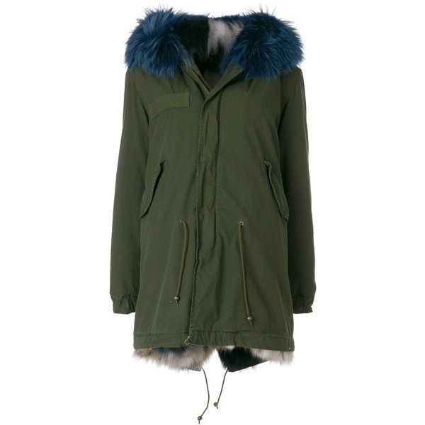 Mr & Mrs Italy fur trimmed midi parka ($7,682) ❤ liked on Polyvore featuring outerwear, coats, green, midi coat, green parka, fur hood parka, parka coat and fur-trimmed coat