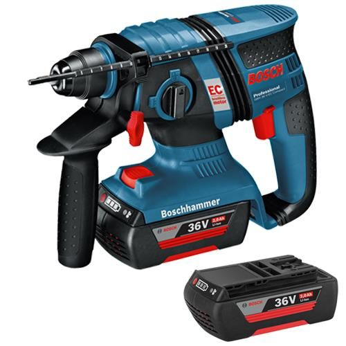 *CLICK TO ENLARGE* Bosch GBH 36 V-EC 36V Brushless Compact SDS Drill (2x 2.0Ah)