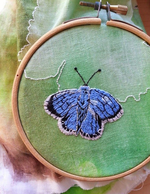 Hand embroidered butterfly