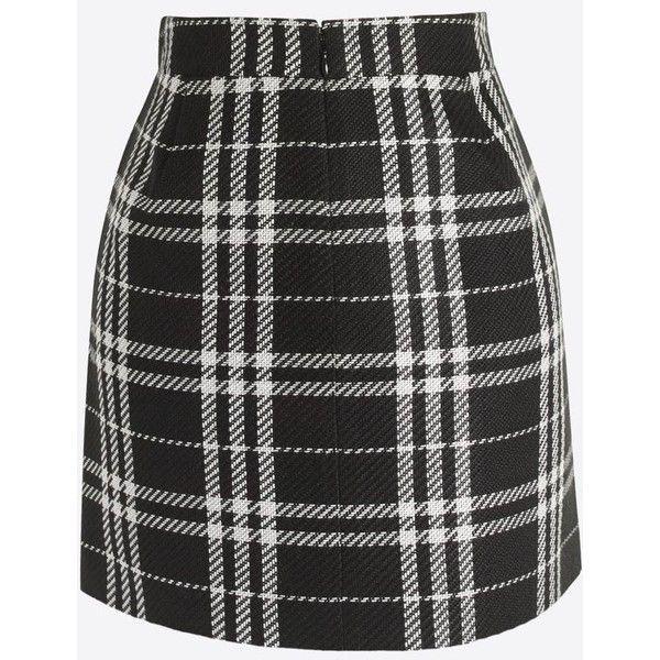 Plaid mini skirt ($37) ❤ liked on Polyvore featuring skirts, mini skirts, long skirts, tartan skirt, back zipper skirt, tartan miniskirts and short skirts