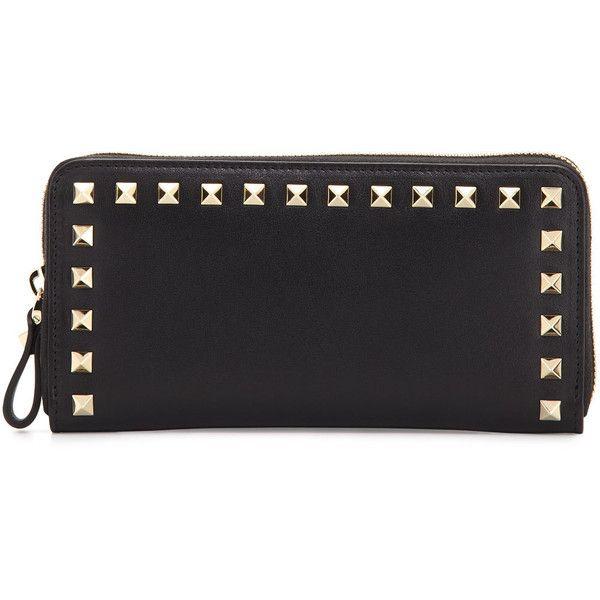 Valentino Rockstud Zip-Around Wallet featuring polyvore women's fashion bags wallets grey zip around wallet 12 card wallet zipper bag zip bag valentino wallet