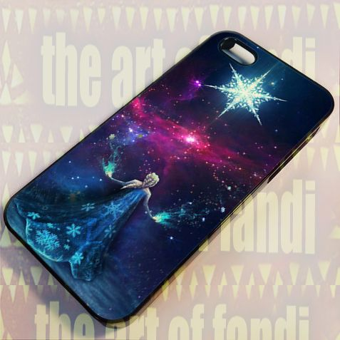Elsa Disney Frozen Space For iPhone 4 or 4s Black Rubber Case
