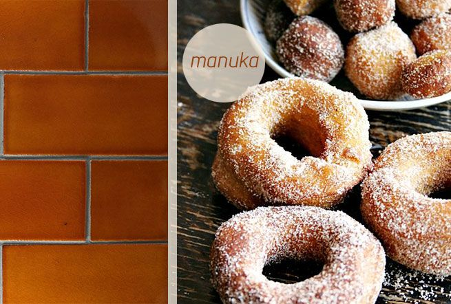 Manuka brown, hand glazed subway tiles. Made in New Zealand by Middle Earth Tiles.